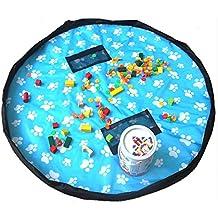 """[Patrocinado] fengirl 60"""" Thicken Baby Toy Storage Bolsa y Portable Kids Play Mat, Nylon & PU doble capa, Lego juguetes Organizador, limpiar en segundos"""