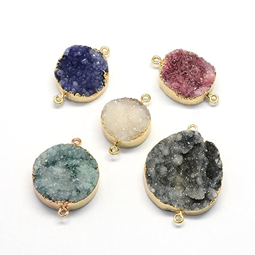 Kissitty 5-Piece Natural Druzy Agate Gemstone Connector Pendants Flat Round with KC Gold Plated Bezel