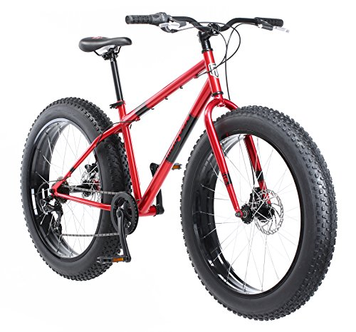 Mongoose Dolomite Fat Tire Mountain Bike, Featuring 17-Inch/Medium High-Tensile Steel Frame, 7-Speed Shimano Drivetrain, Mechanical Disc Brakes, and 26-Inch Wheels, Red