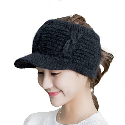 Flammi Women's Girl's Warm Plush-lined Headband Knit Visor Cap Hat Topless Baseball Cap (Black) (Fleece Visor Beanie)