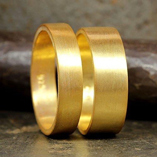 057ca8b0f085f Amazon.com: Matching Wedding Bands Set 24K Yellow Gold Vermeil 925 ...