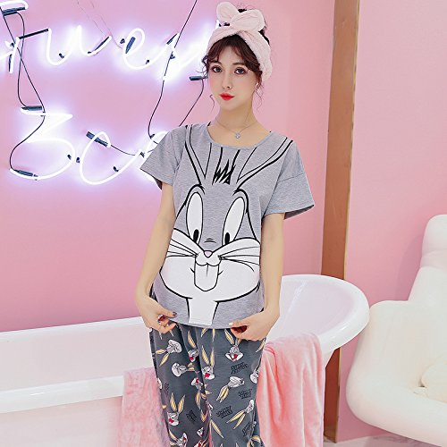 Amazon.com: Blue Stones Women Clothes for Summer Pajamas Sets O-Neck Sleepwear Lovely Rabbit Pijamas Mujer Short Sleeve Cotton Sexy Pyjamas Female: Kitchen ...