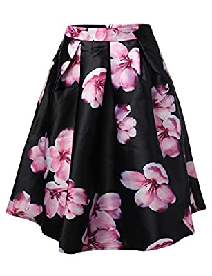 Made by Emma MBE Women's High Waisted A Line Floral Vintage Skater Midi Skirt Pleats