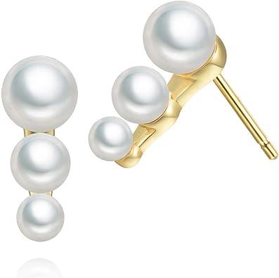 Bridal Stud Earrings Pearl Wedding Earrings Sterling Silver Simple Pearl Stud Earrings White Pearl Earrings June Birthstone Earrings