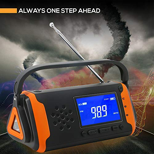 EJEAS Emergency Weather Solar Crank AM/FM NOAA Radio with SOS Alarm Portable 4000mAh Power Bank, Bright Flashlight, Reading Lamp and AUX Music Player for Household Emergency and Outdoor Survival by EJEAS (Image #5)