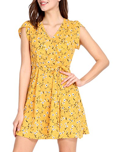 Crossover Neck Women's Boho Petal K Yellow Floral Sleeves Belted Allegra V Dress XWpqtxBnw