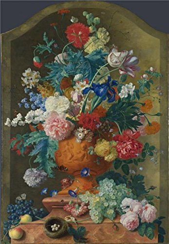 'Jan Van Huysum-Flowers In A Terracotta Vase,1736-7' Oil Painting, 8x12 Inch / 20x29 Cm ,printed On Perfect Effect Canvas ,this Cheap But High Quality Art Decorative Art Decorative Canvas Prints (Terra Cotta Floor Vases)
