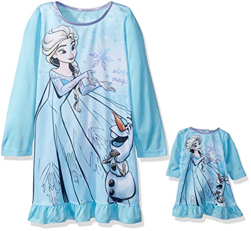 Disney Girls' Big Frozen Elsa Nightgown with Matching Doll Gown, Olaf/ice, 8