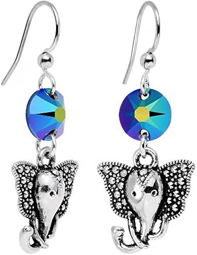 Body Candy Handcrafted Brilliant Blue Elephant Dangle Earrings Created with Swaorvski Crystals
