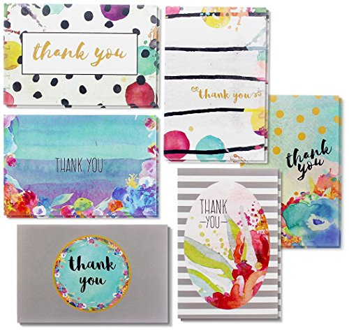 Thank You Cards - 48-Count Thank You Notes, Bulk Thank You Cards Set - Blank on the Inside, 6 Floral Watercolor Designs - Includes Thank You Cards and Envelopes, 4 x 6 Inches