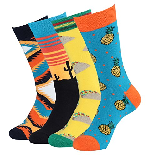 Mens Sock Pattern (Men's Funky Colorful Fruits Pattern Dress Socks Casual Cotton Crew Socks (4 Pack))