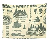 Emvency Tapestry Wall Hanging Summer Camp Retro with Rv Trailer Tent Mountain Campfire Hiker and Forest 60x80 Inches Polyester Fabric For Living Room Dorm Bedroom Decorations