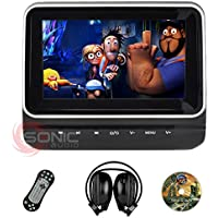 Sonic Audio HR-7C - Universal 7 Tablet-Style Clip-On Headrest DVD Player/Screen with USB/SD and Wireless Infrared Headphones - Plug-and-Play Rear-Seat Entertainment System