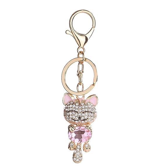 Forbestest Rhinestone encantador del gato llaveros regalos de joyería anillo llavero de cristal colgante del bolso del llavero niñas: Amazon.es: Ropa y ...