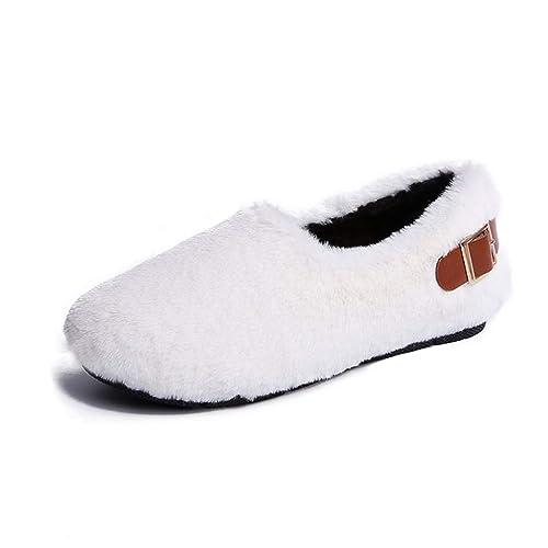 Mujer Pisos Mocasines Zapatos Otoño Invierno Slip-on Ronda Toe Hebilla Decoración Felpa Plantilla Señoras Calzado Interior: Amazon.es: Zapatos y ...