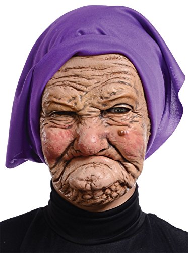 Granny Old Lady Hag Mask Kerchief Funky Witch Halloween Costume Accessory - Old Lady Mask With Scarf