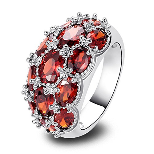 Narica Womens Brilliant 6mmx4mm Oval Cut Red Garnet Gemstones Cocktail Ring