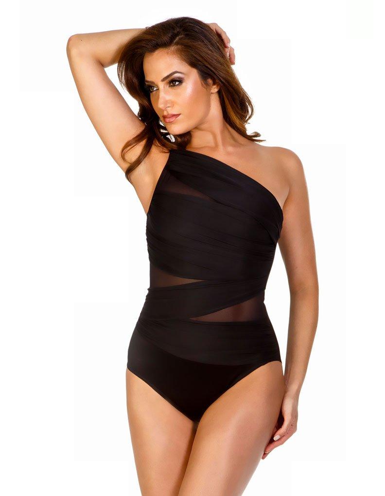 Miraclesuit Women's Jena Asymmetrical One Piece Swimsuit Black 14