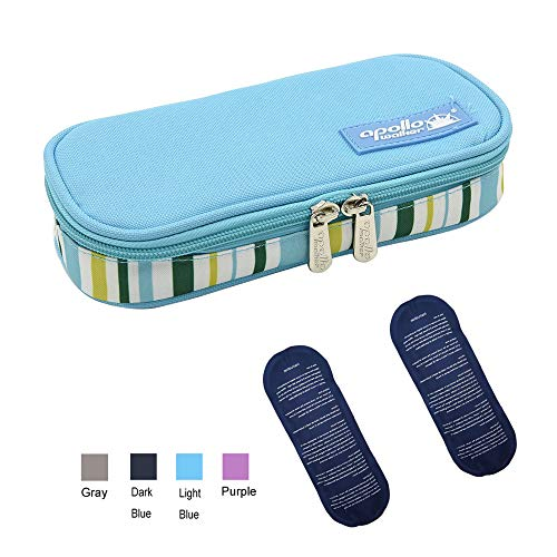 TAWA apollo walker Insulin Cooler Travel Case Diabetic Medication Cooler with 2 Ice Pack and Insulation Liner(Light Blue)
