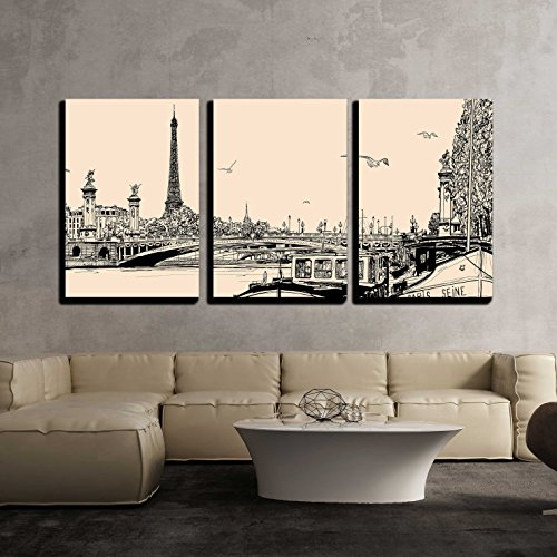 Illustration of a View of Seine River in Paris with Barges and Eiffel Tower x3 Panels