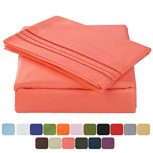 TasteLife 105 GSM Deep Pocket Bed Sheet Set Brushed Hypoallergenic Microfiber 1800 Bedding Sheets Wrinkle, Fade, Stain Resistant - 4 Piece(Coral,King) 2 Tone Blanket