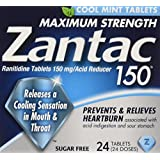 Zantac 150 Maximum Strength Tablets, Cool Mint, 24 Count, Helps Relieve and Prevent Heartburn Associated with Acid Indigestion or Sour Stomach, Use Before or After Meals or Before Bed at Night
