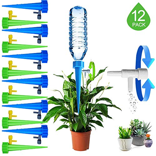 (ARTEM 12 Packs Plant Waterer Self Watering Devices with Slow Release Adjustable Switch Vacation Automatic Irrigation Watering System for Indoor & Outdoor Home Office Plants)
