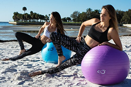 Live Infinitely Exercise Ball (55cm-95cm) Extra Thick Professional Grade Balance & Stability Ball- Anti Burst Tested Supports 2200lbs- Includes Hand Pump & Workout Guide Access Purple 75cm by Live Infinitely (Image #4)
