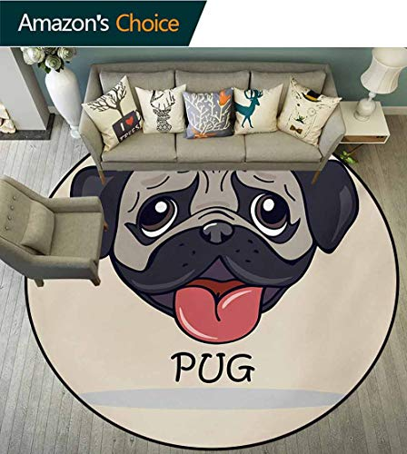 RUGSMAT Pug Round Area Rug Reversible Floor Carpet,Cartoon Pug Dog Caricature with Its Tongue Out Happy Face Animal Fun Illustration Super Soft Living Room Bedroom Home Shaggy Carpet,Diameter-59 Inch ()