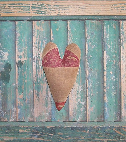 Stuffed Primitive Heart made from Antique Quilt - Claret and Tan #3