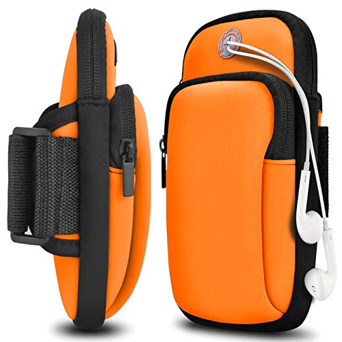 Yantan Arm Bag for Running, Sports Phone Armband with Double Pockets (Orange)