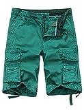 WenVen Men's Cotton Twill Cargo Short Outdoor Wear Lightweight(No.4 Grass Green,36)