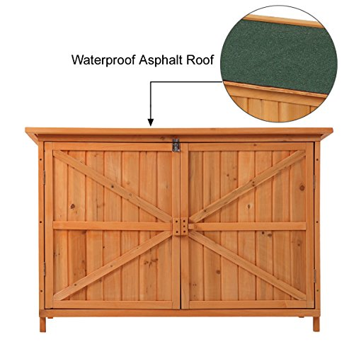 JAXPETY Wooden Garden Shed Wooden Lockers with Fir wood (Natural wood color & Double door # 2) by JAXPETY