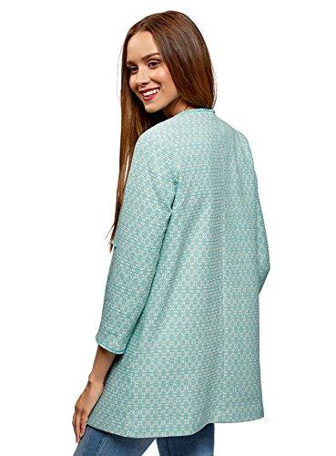 Ganchillos oodji Ultra Verde Jacquard de Tejido 7012g Mujer Abrigo de con 8pWrw8AqF