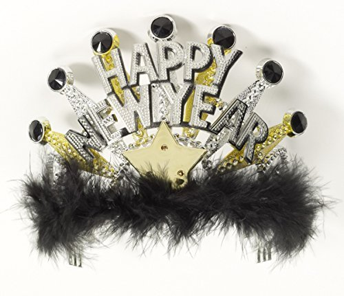 Forum Novelties Happy New Years Light up Black and Gold Tiara