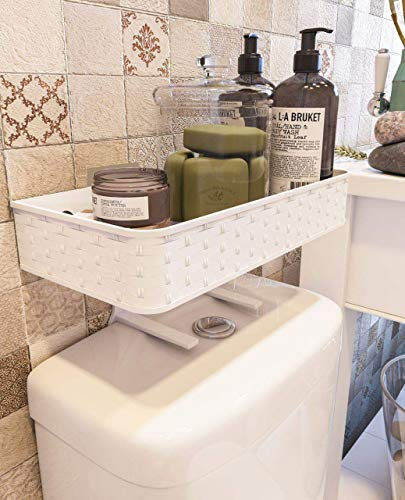 Marble Bathroom Storage Cabinet - Nourimex Over The Toilet Organizer Bathroom Storage Shelf Bath Space Tray Toilet Paper Holder Organization Standing Basket Wall Mounted Shelves Top Shower Caddy Cabinet Hand Towel Bar Stand Box_White