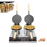 BAOSHISHAN Egg Waffle Maker Double Tray Hong Kong Bubble Belgian Waffle Iron Maker Baker 360° Rotatable Commercial Non-Stick (110V)