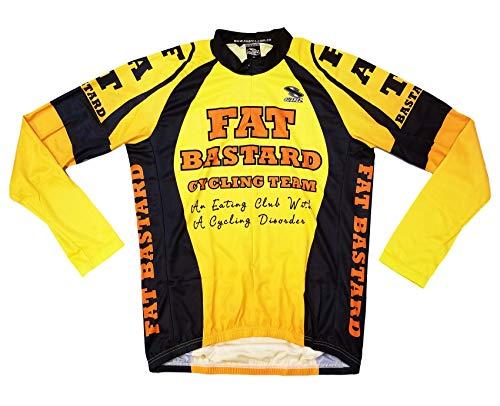 Fat Bastard Team Mens Cycling Jersey Yellow Orange Black Mens 5XL Long Sleeve