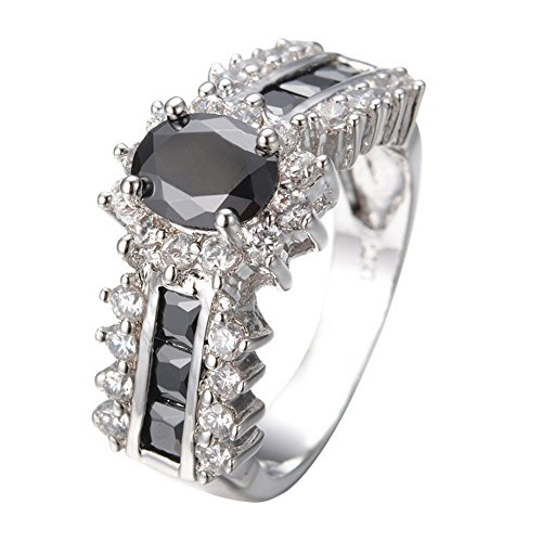 [PSRINGS Jewelry Finger Rings Black Sapphire 10KT White Gold Filled Rings B0899 7.0] (Ninja Turtle Nose Costume)