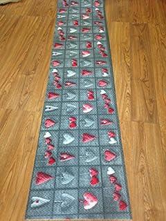 tappeto cucina a metraggio pvc largo 55 cm cuori grigio tortora shabby chic