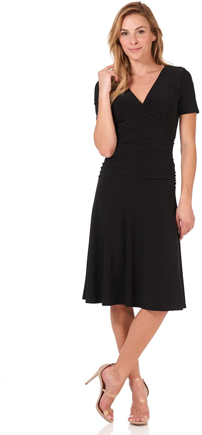 Rekucci Women's Slimming Short Sleeve Fit-N-Flare Crossover Tummy Control Dress