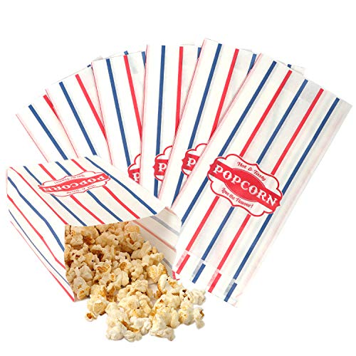 Popcorn Dreaming 100 Pack Popcorn Bags – Carnival Party and Paper Favors – Movie, Theater and Circus Birthday Theme Snack Containers – Microwave Popper – Vintage Red, White and Blue Stripes (100)