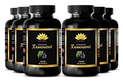 Prostate support - PURE RESVERATROL SUPPLEMENT 1200 mg - Pomegranate health - 6 Bottles 360 Capsules by SKIN CARE SOLUTIONS