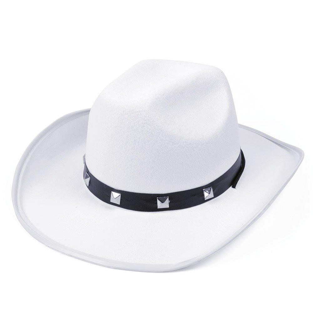 One Size Mens Bristol Novelty White Felt Cowboy Studded Hat Hats
