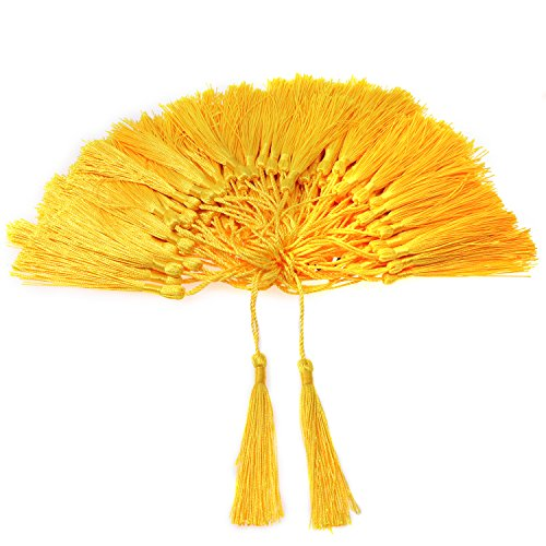 VAPKER 100 Pieces Yellow Tassels 13cm/5-Inch Silky Handmade Soft Tassels Floss Bookmark Tassels with 2-inch Cord Loop for Jewelry Making, DIY Projects, - Tassel Yellow