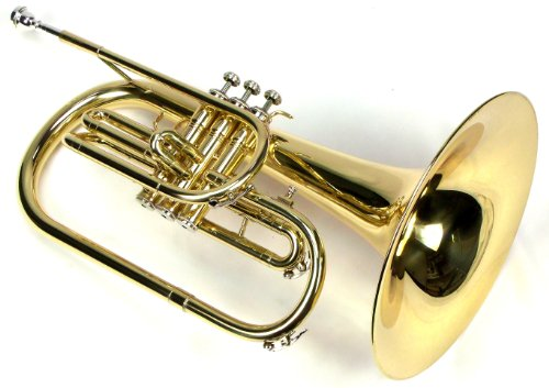 Moz Advanced Monel Pistons Marching Mellophone Key of F with Case and Mouthpiece-Gold Lacquer Finish by Moz