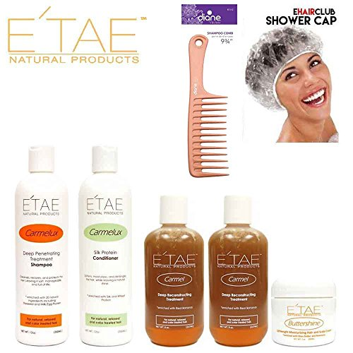 Etae Natural Products Carmelux Shampoo, Conditioner, 2 E'tae Carmel Treatment, Buttershine Kit (5 items) with Caps and Comb by E'TAE Natural Products