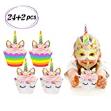 Unicorn Cupcake Toppers and Wrappers Double Sided Kids Party Cake Decorations Set of 24