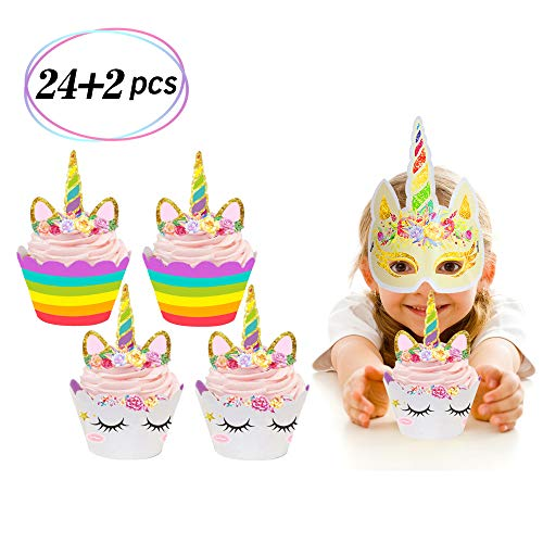 24 Pack Unicorn Cupcake Toppers and Wrappers Double Sided Kids Party Cake Decorations +2 Unicorn Masks for Party Supplies]()