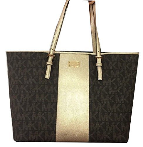 Michael Kors Met Center Stripe Tote MK Logo Handbag (Brown)